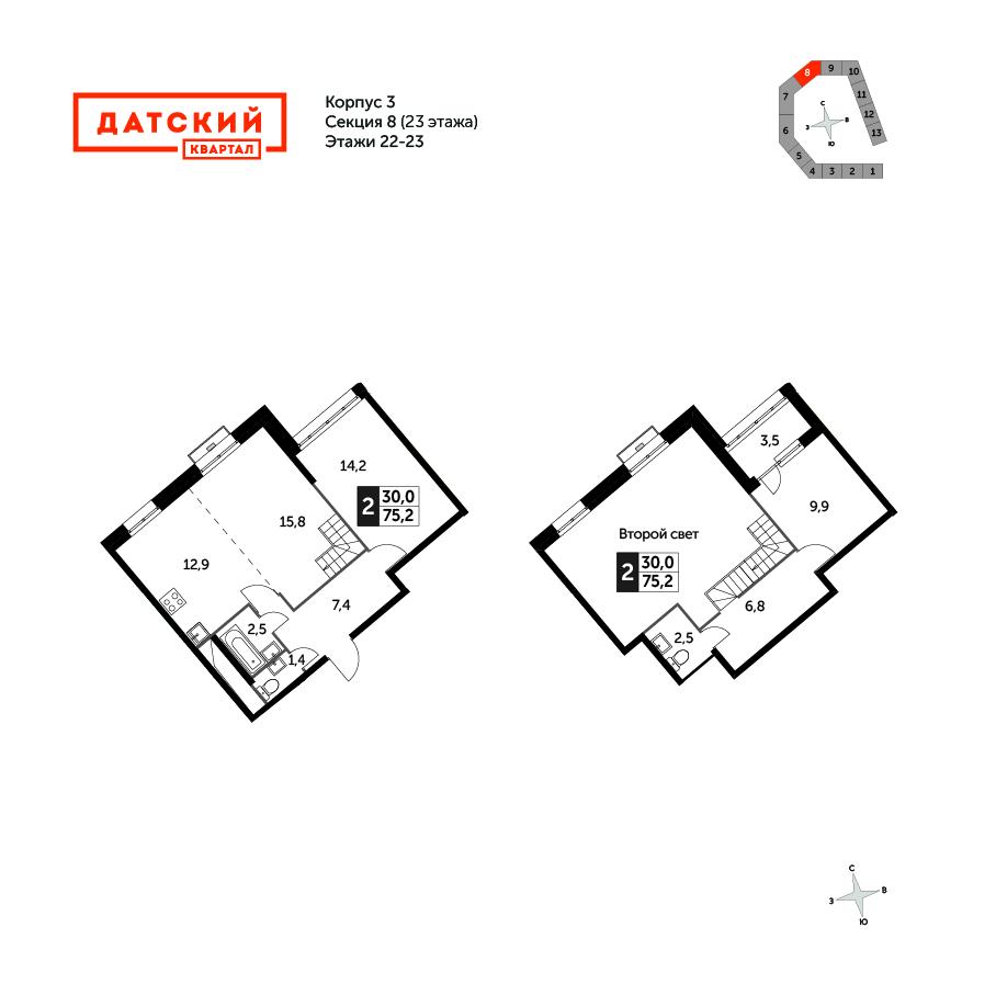 2-комнатная квартира, 75.2м² за 10,2 млн руб.