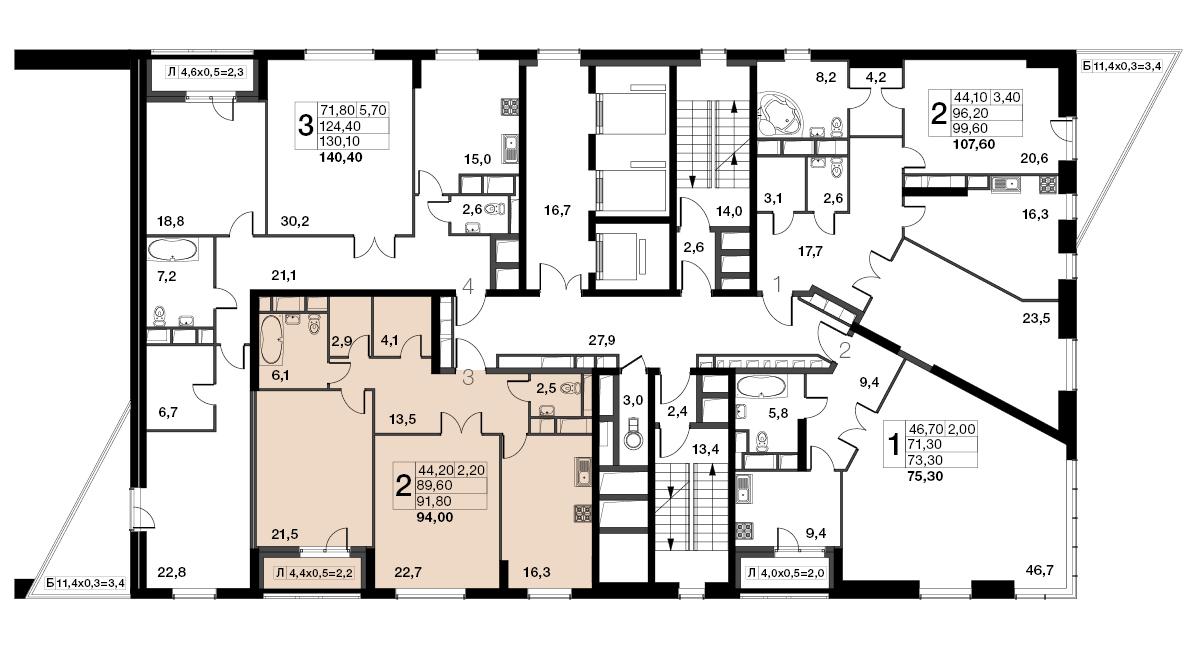 2-комнатная квартира, 91.8м² за 32,4 млн руб.