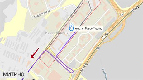 Маршрут выезда из Путилково в Митино