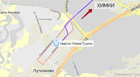 Маршрут выезда из Путилково в Химки