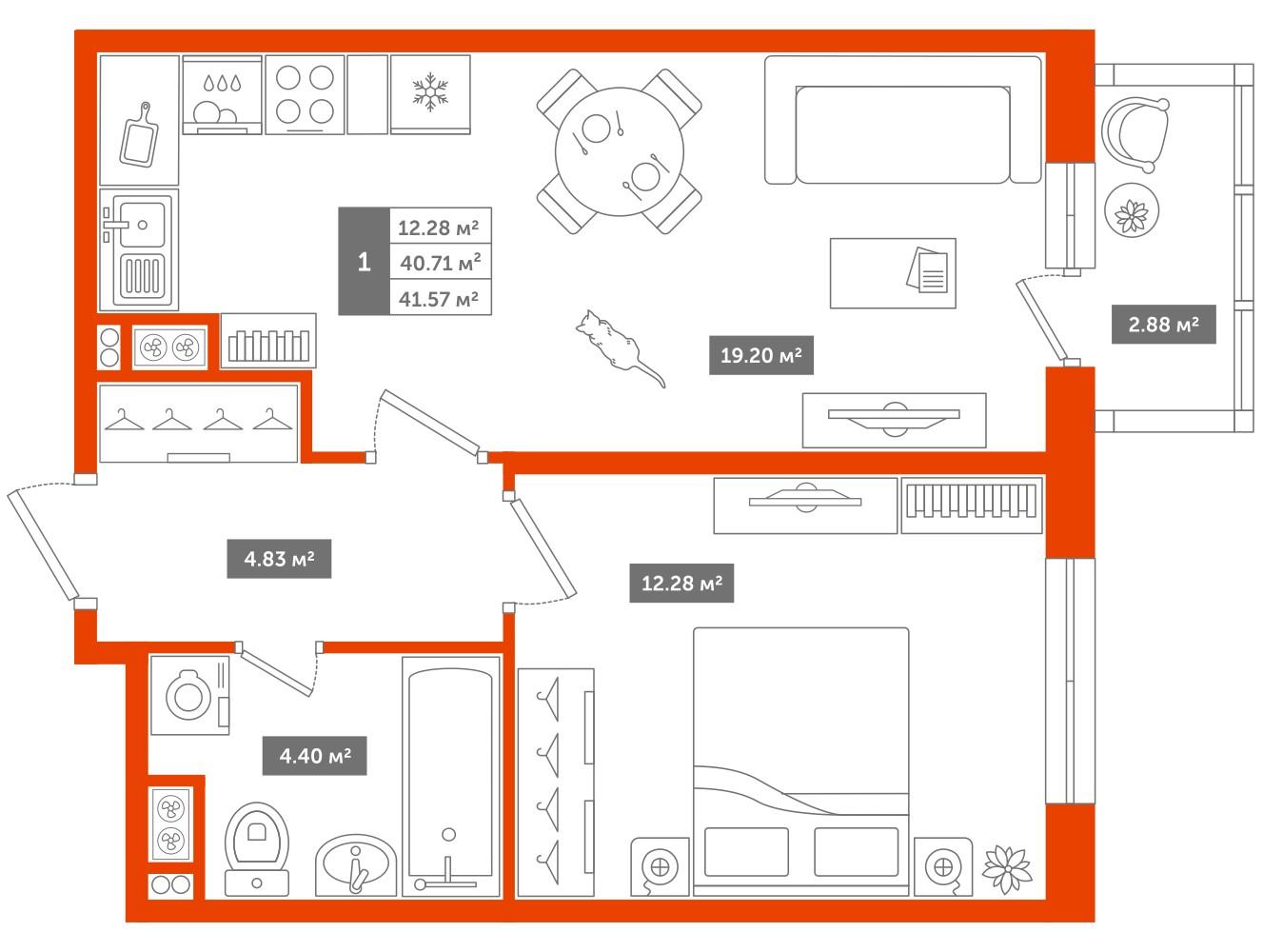 1-комнатная квартира, 41м² за 4 млн руб.