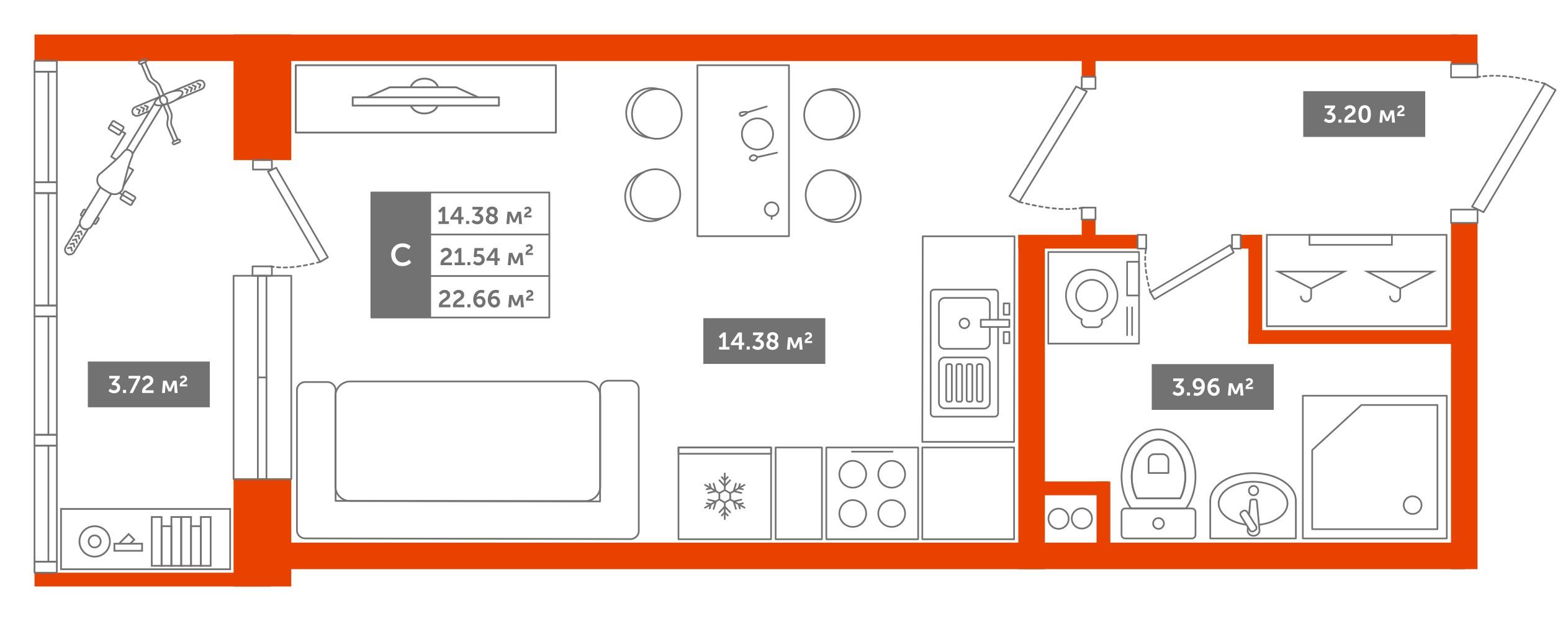 1-комнатная квартира, 22м² за 2,3 млн руб.