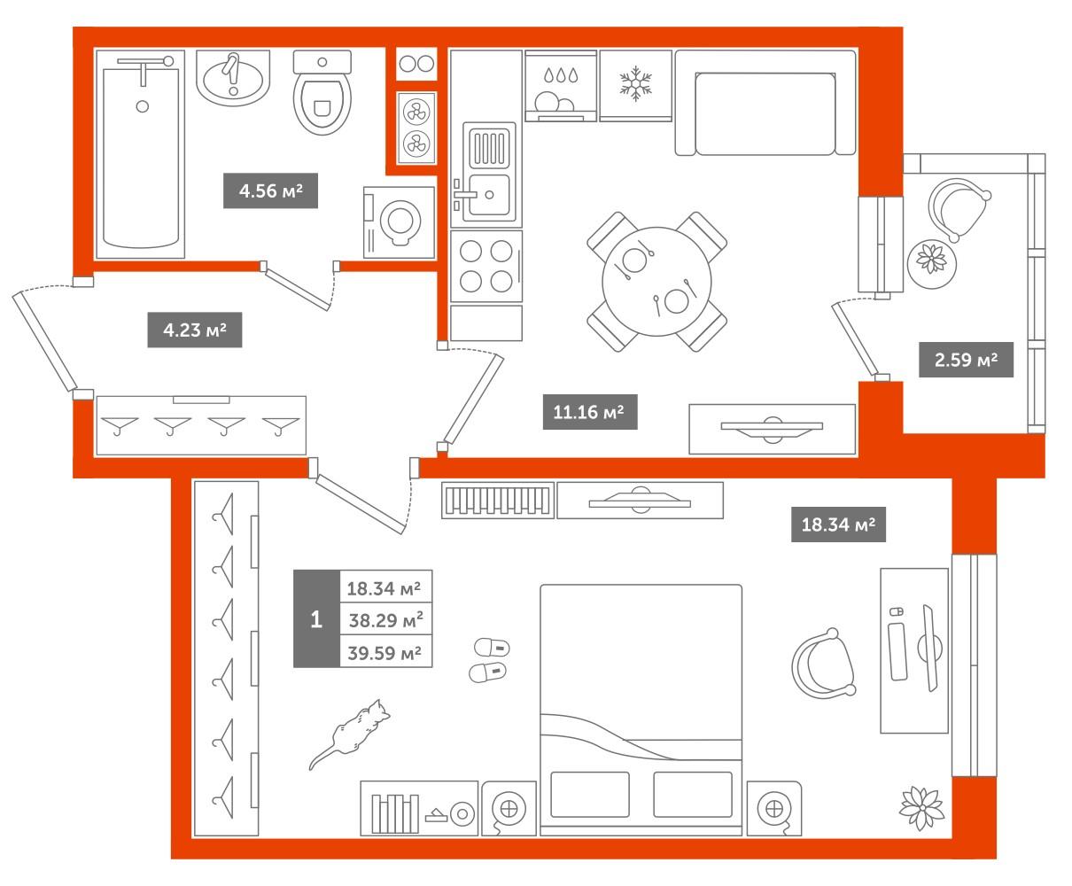 1-комнатная квартира, 39м² за 3,8 млн руб.