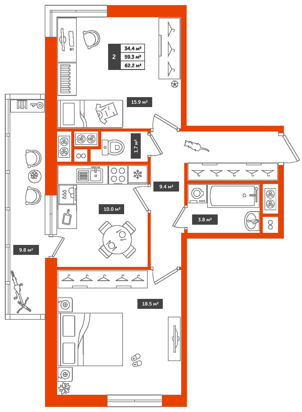 2-комнатная квартира, 62.2м² за 6,7 млн руб.