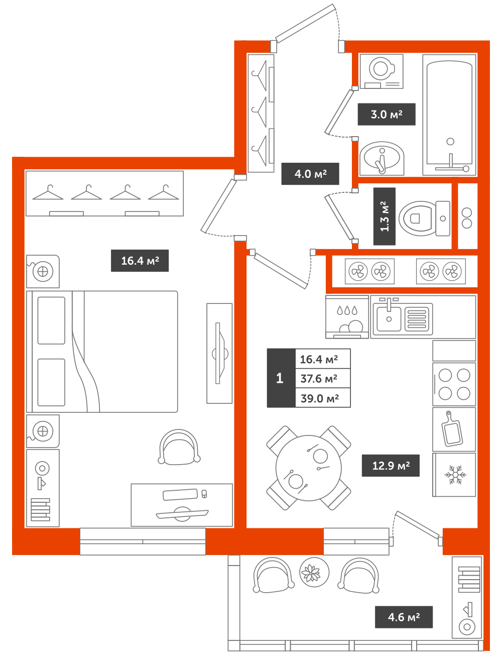 1-комнатная квартира, 39м² за 4,6 млн руб.
