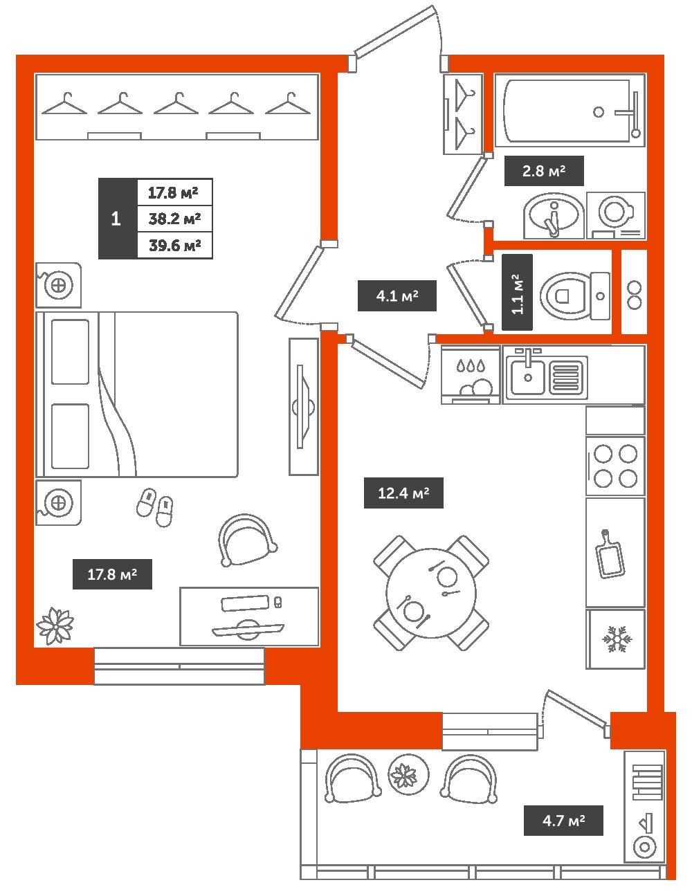 1-комнатная квартира, 39.6м² за 4,6 млн руб.