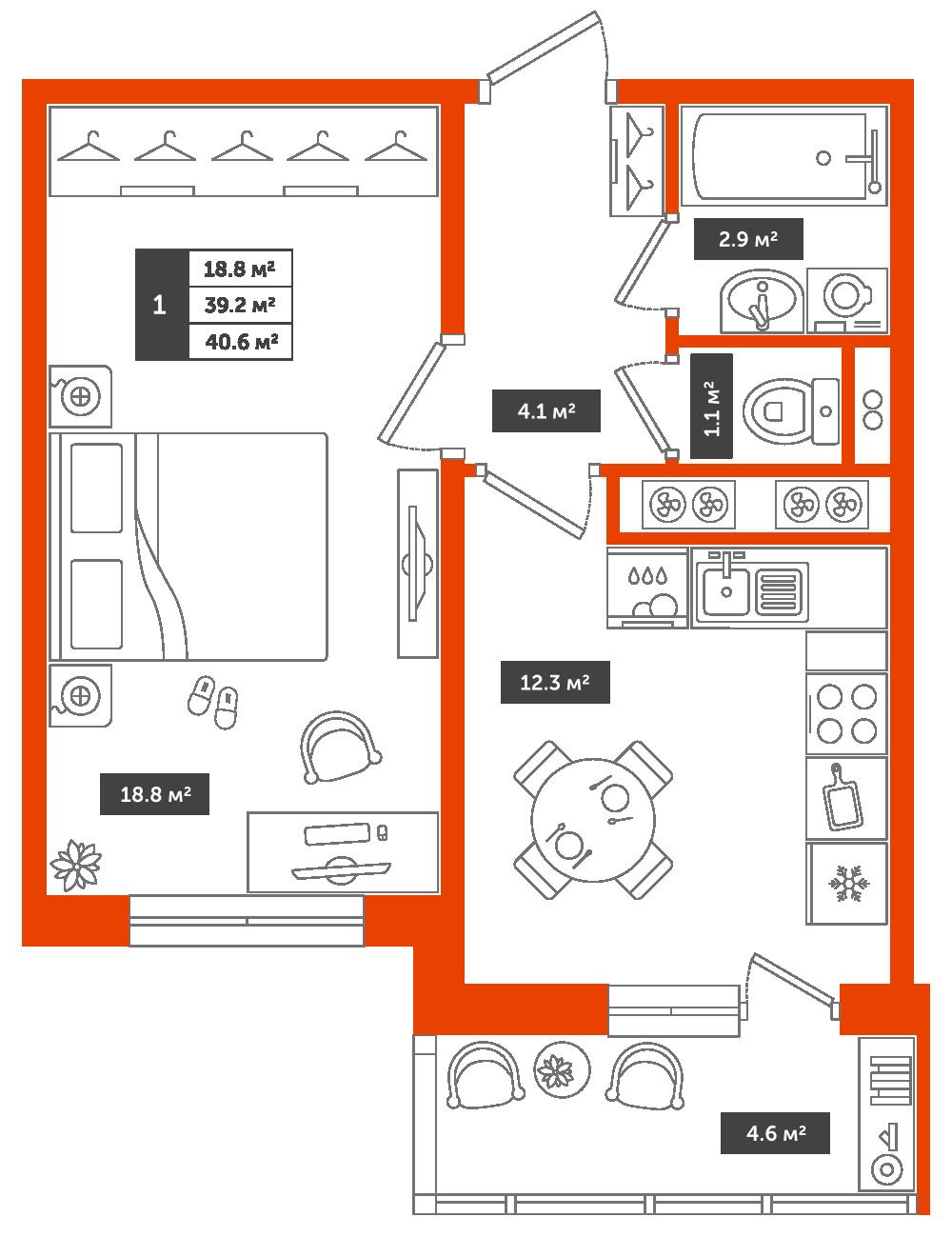 1-комнатная квартира, 40.6м² за 4,7 млн руб.