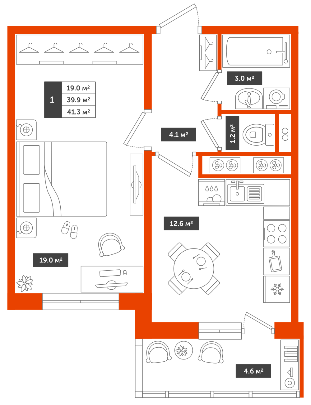 1-комнатная квартира, 41.3м² за 4,8 млн руб.
