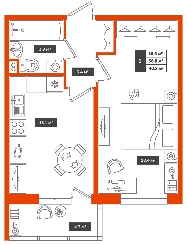 1-комнатная квартира, 40.2м² за 4,6 млн руб.