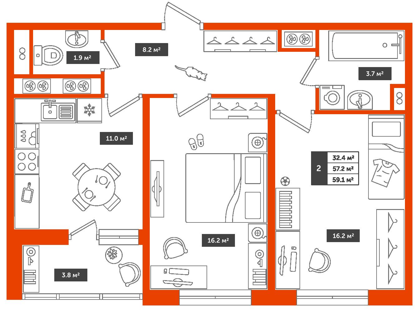 2-комнатная квартира, 59.1м² за 6,3 млн руб.