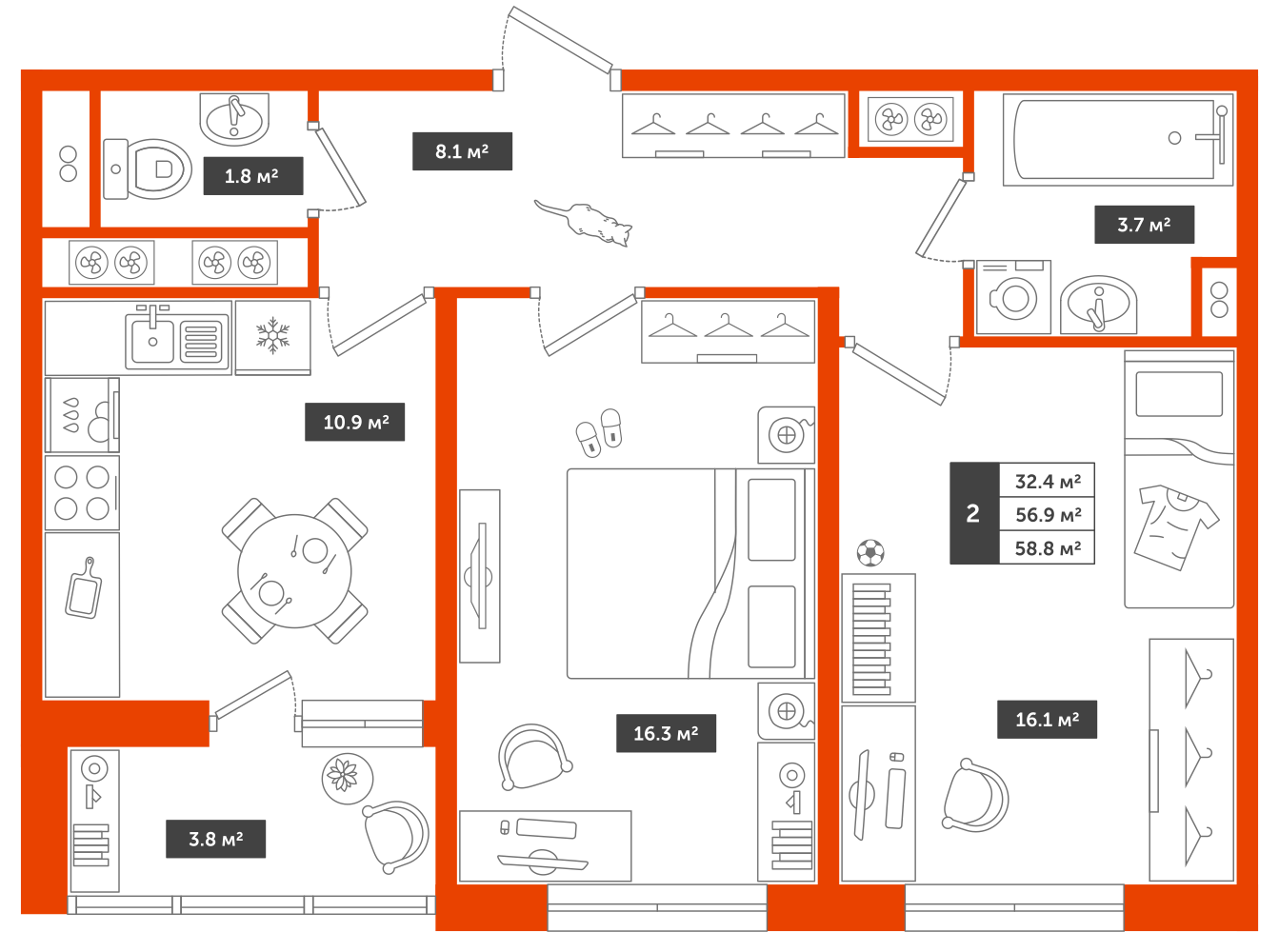 2-комнатная квартира, 58.8м² за 6,3 млн руб.