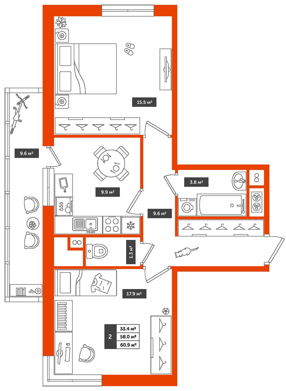 2-комнатная квартира, 60.9м² за 6,6 млн руб.