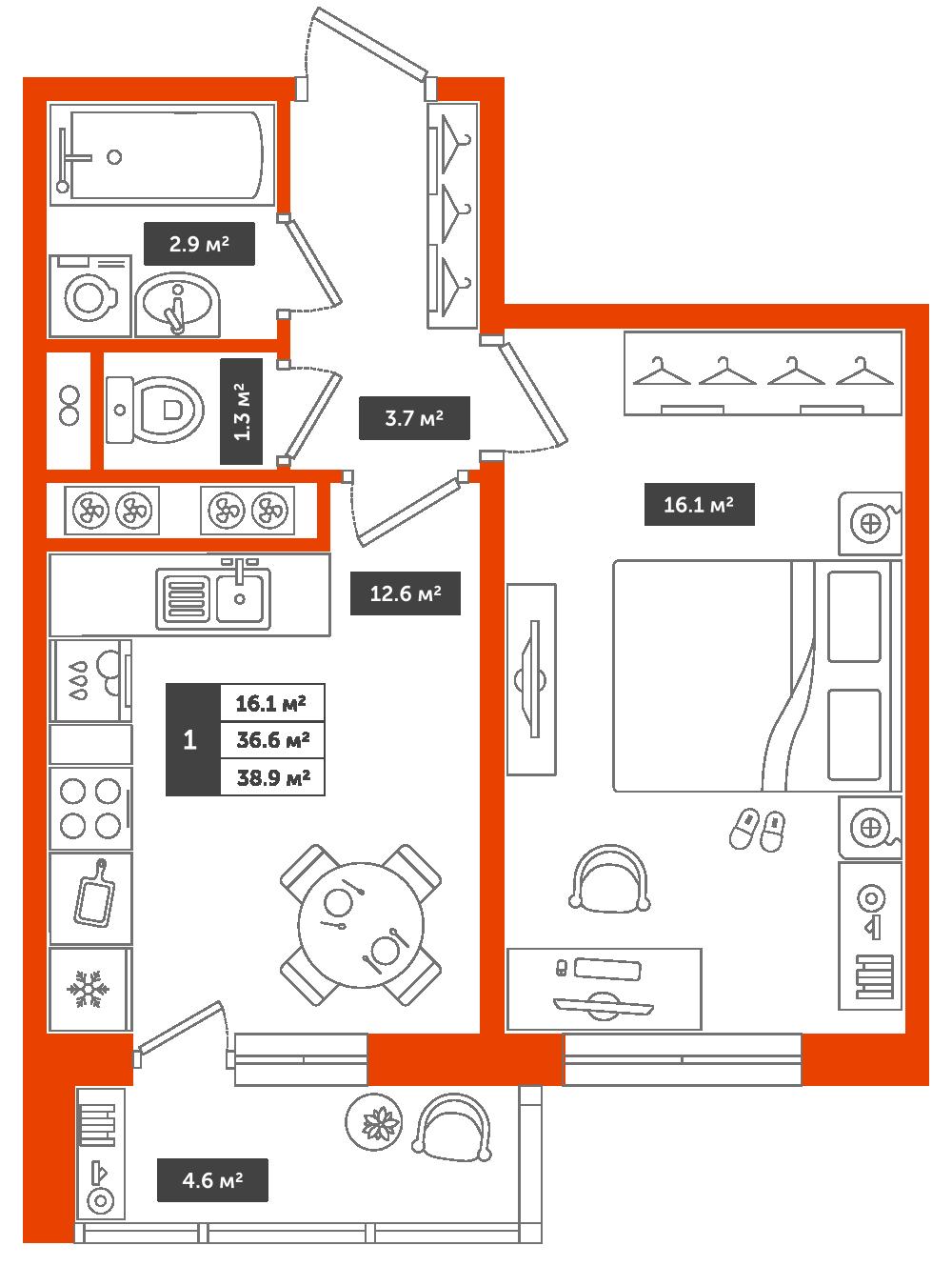 1-комнатная квартира, 38.9м² за 4,6 млн руб.