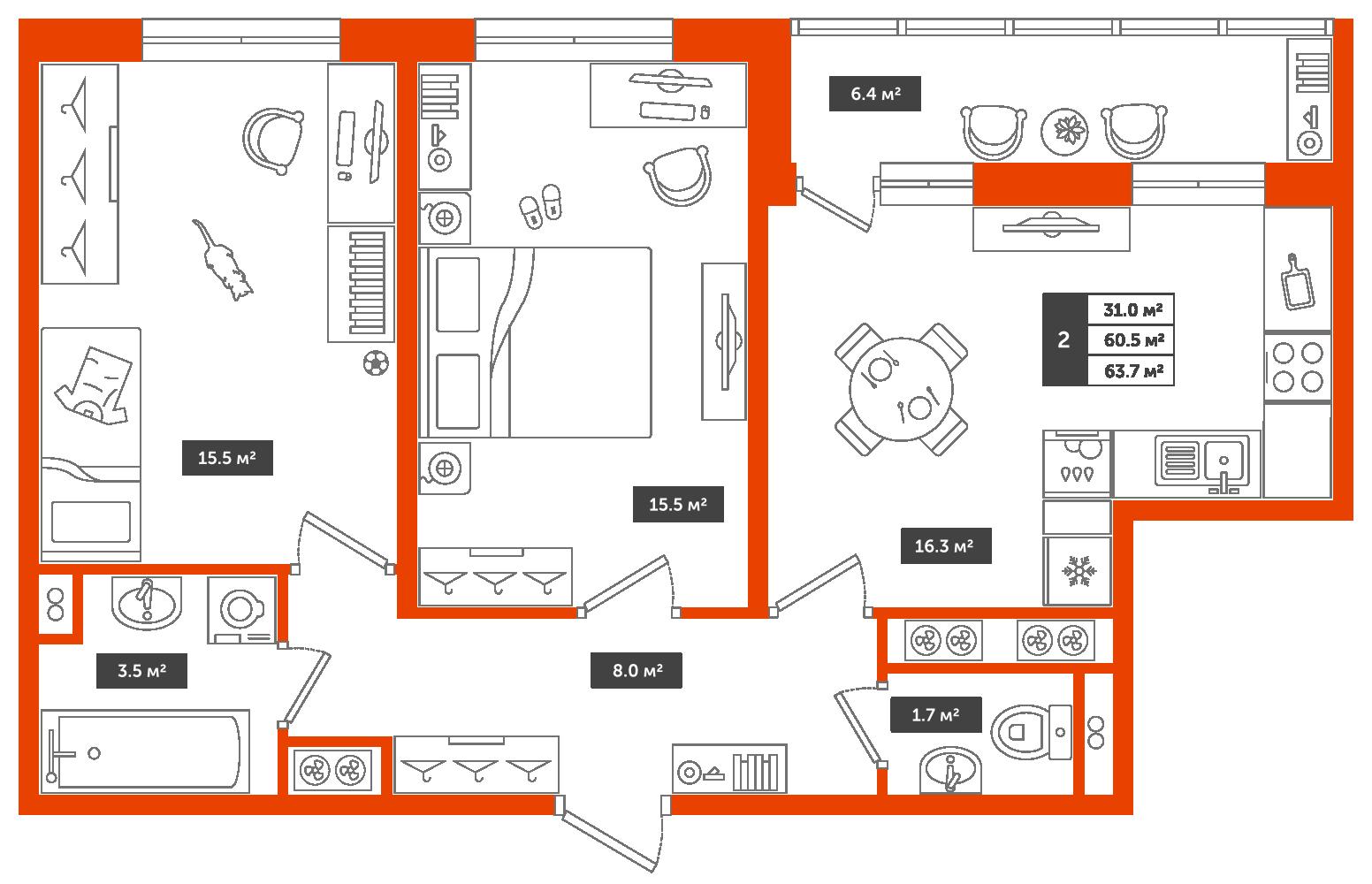 2-комнатная квартира, 63.7м² за 6,8 млн руб.