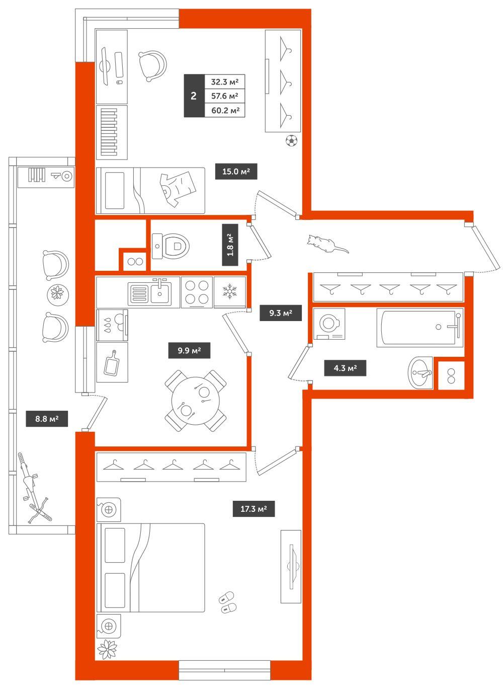 2-комнатная квартира, 60.2м² за 5,8 млн руб.