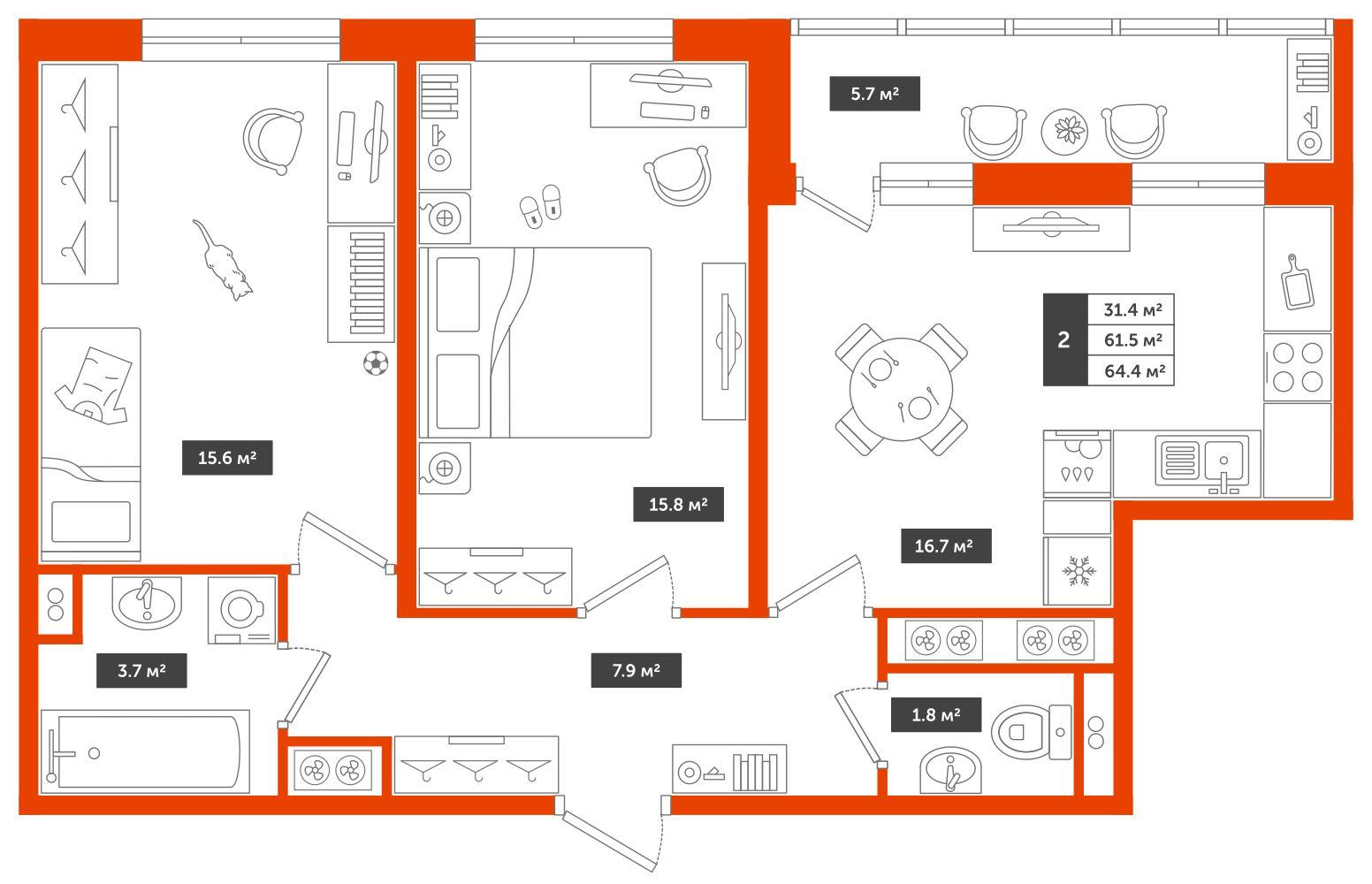 2-комнатная квартира, 64.4м² за 6,2 млн руб.