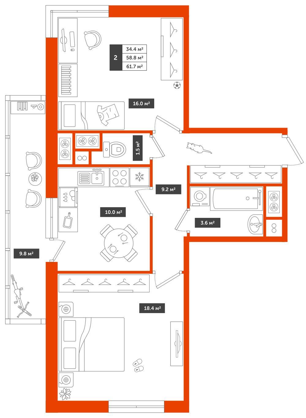 2-комнатная квартира, 61.7м² за 6 млн руб.