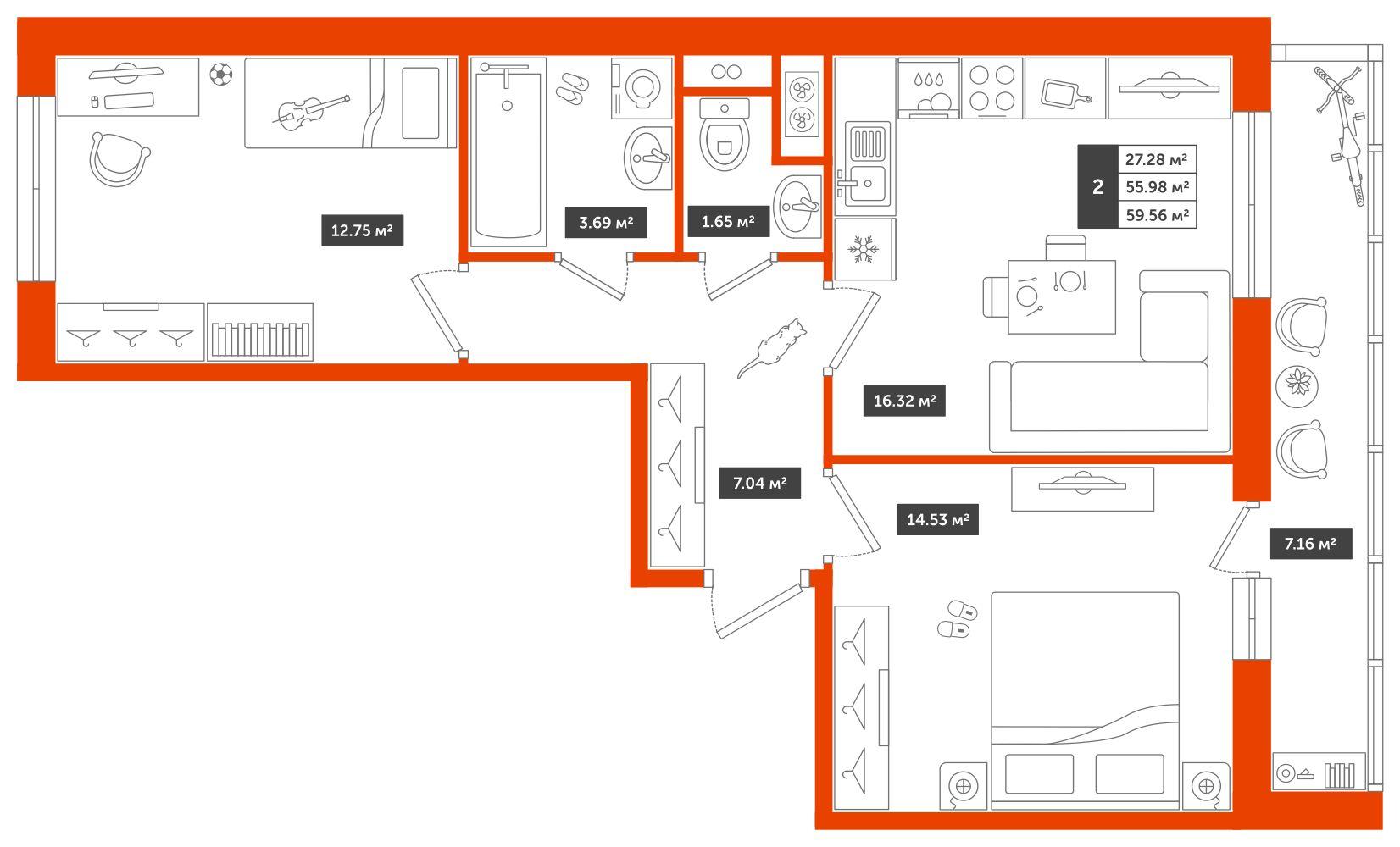 2-комнатная квартира, 59.56м² за 5,1 млн руб.