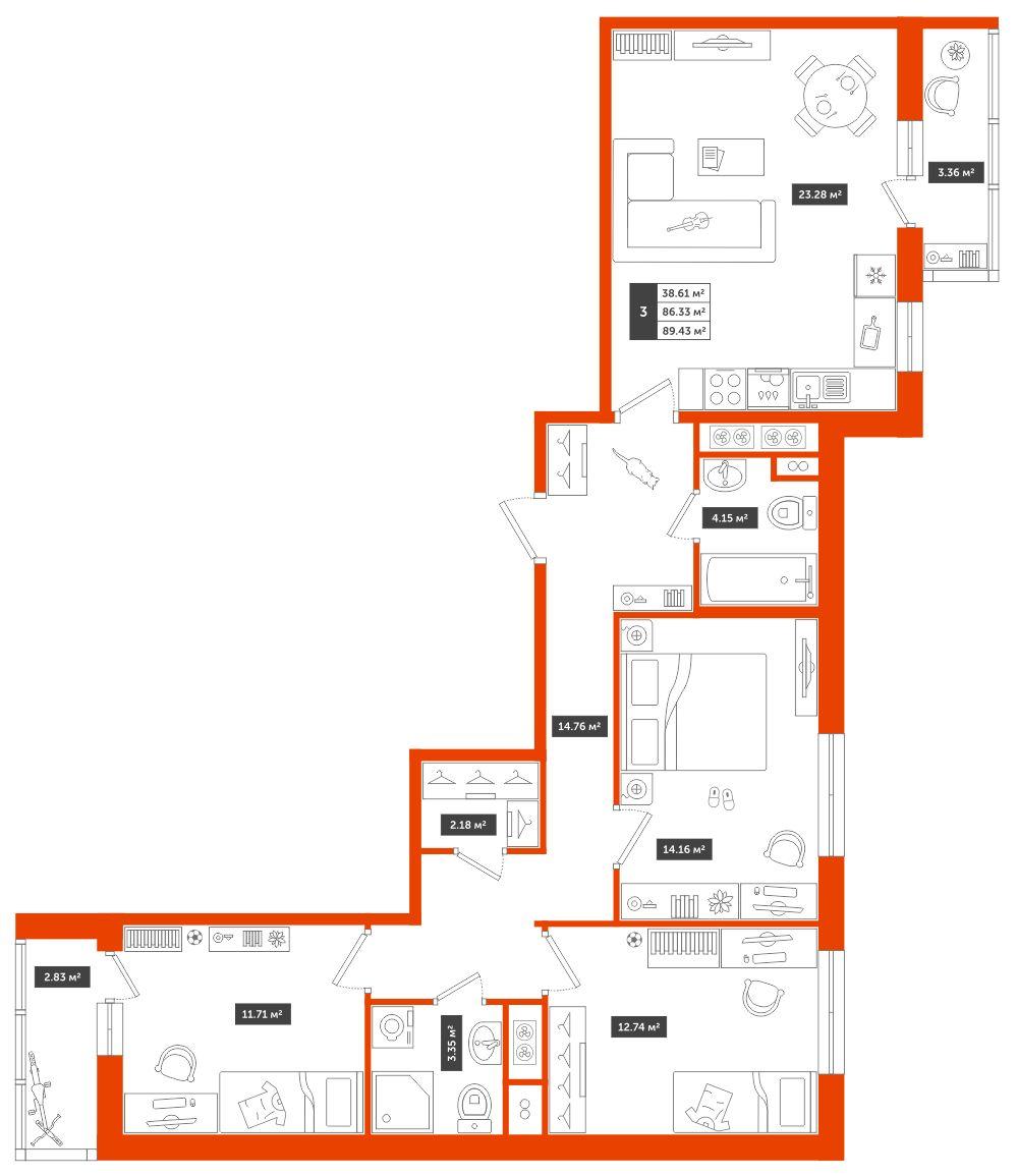 3-комнатная квартира, 89.43м² за 7,1 млн руб.