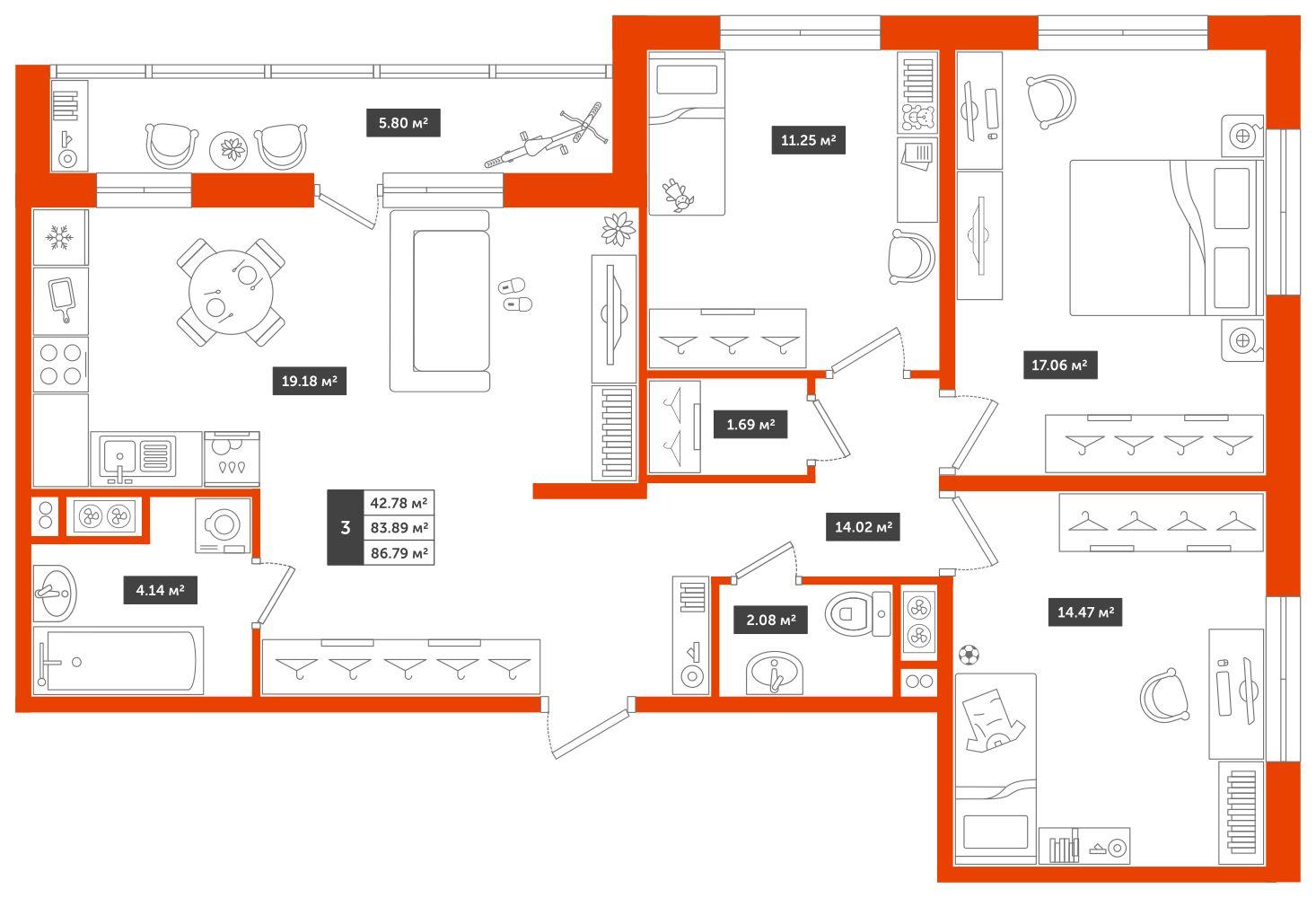 3-комнатная квартира, 86.79м² за 6,9 млн руб.