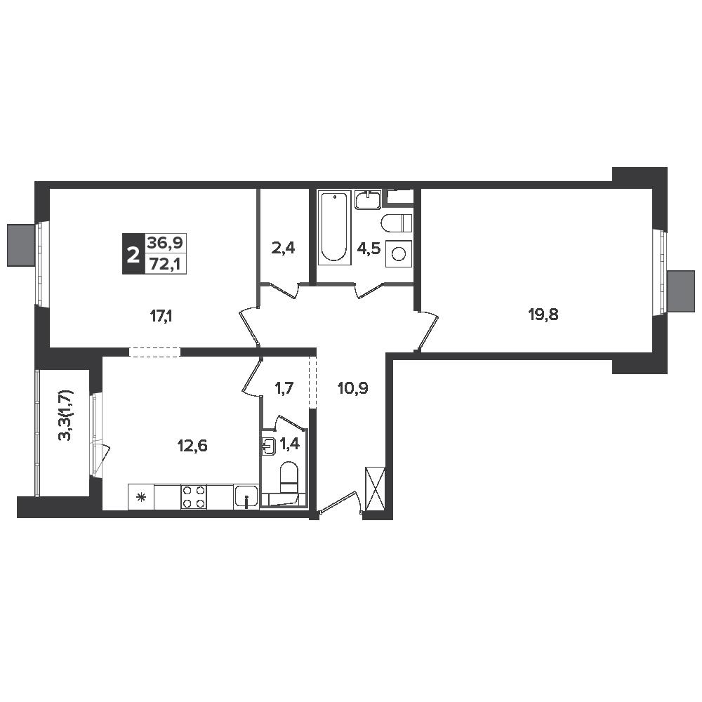2-комнатная квартира, 72.1м² за 11,1 млн руб.