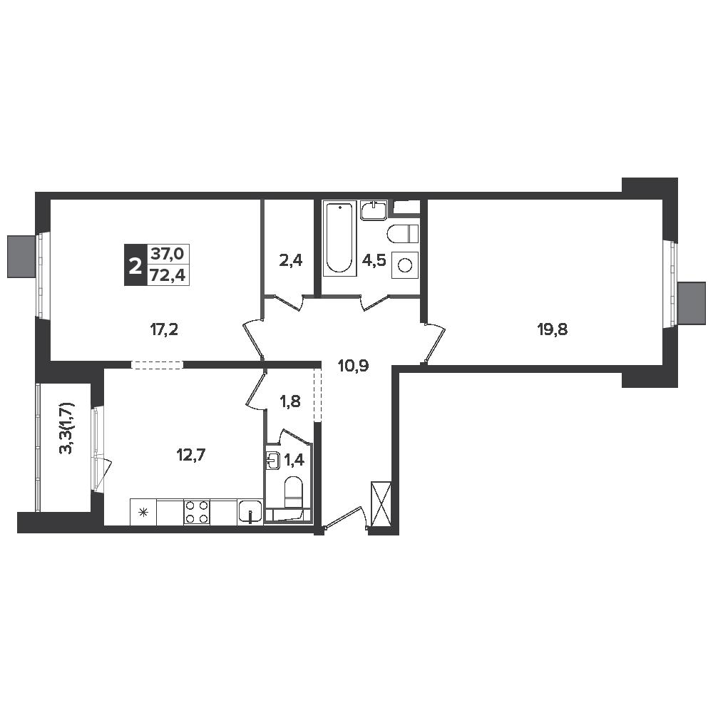 2-комнатная квартира, 72.4м² за 9,7 млн руб.