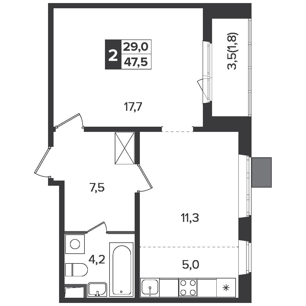 2-комнатная квартира, 47.5м² за 7,9 млн руб.