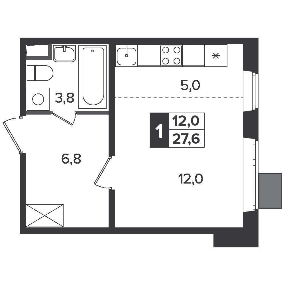 Студия, 27.6м² за 4,7 млн руб.