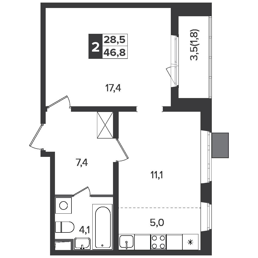 2-комнатная квартира, 46.8м² за 7,2 млн руб.