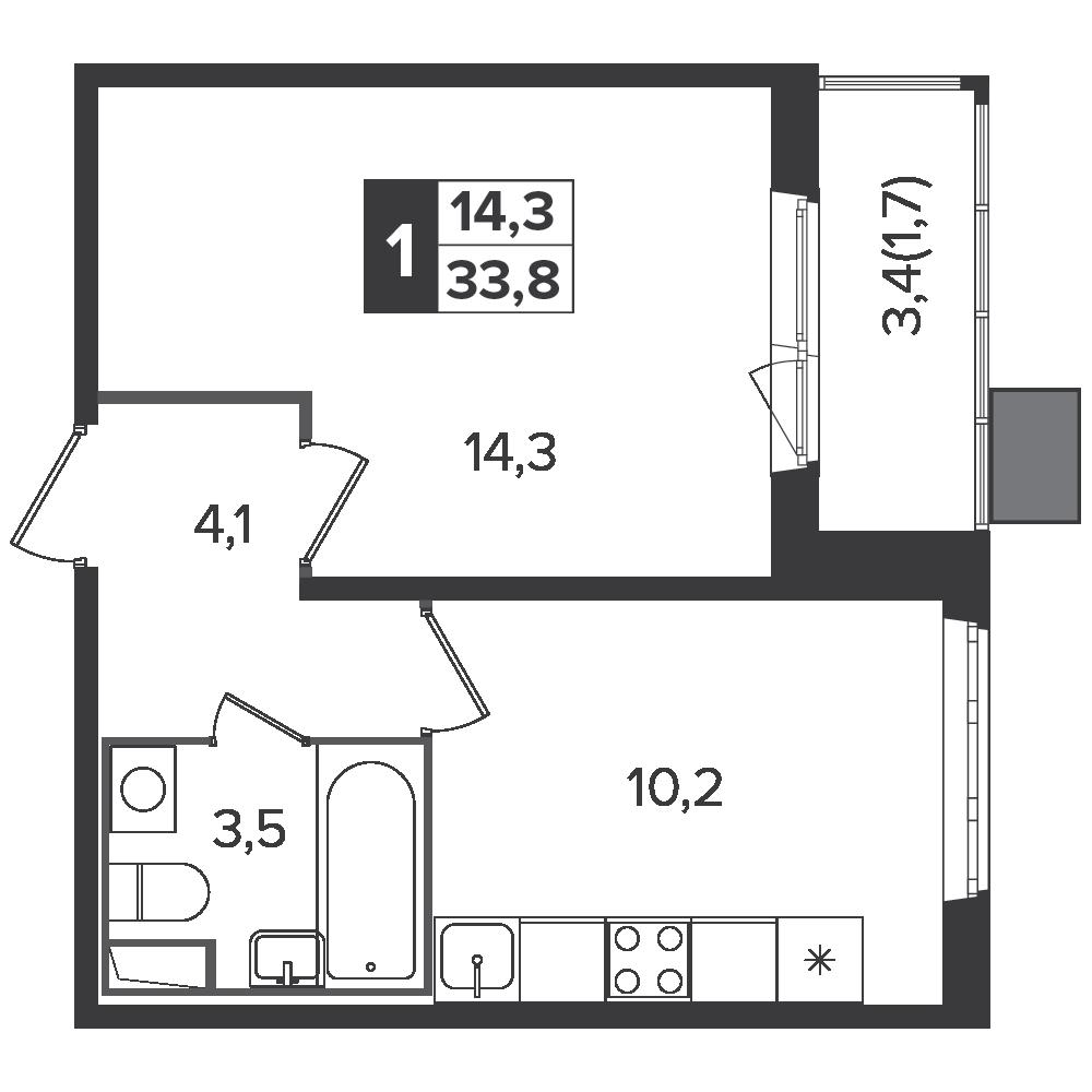 1-комнатная квартира, 33.8м² за 5,2 млн руб.