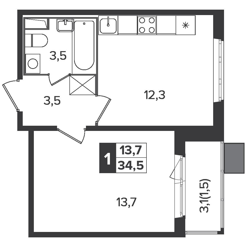 1-комнатная квартира, 34.5м² за 5,3 млн руб.