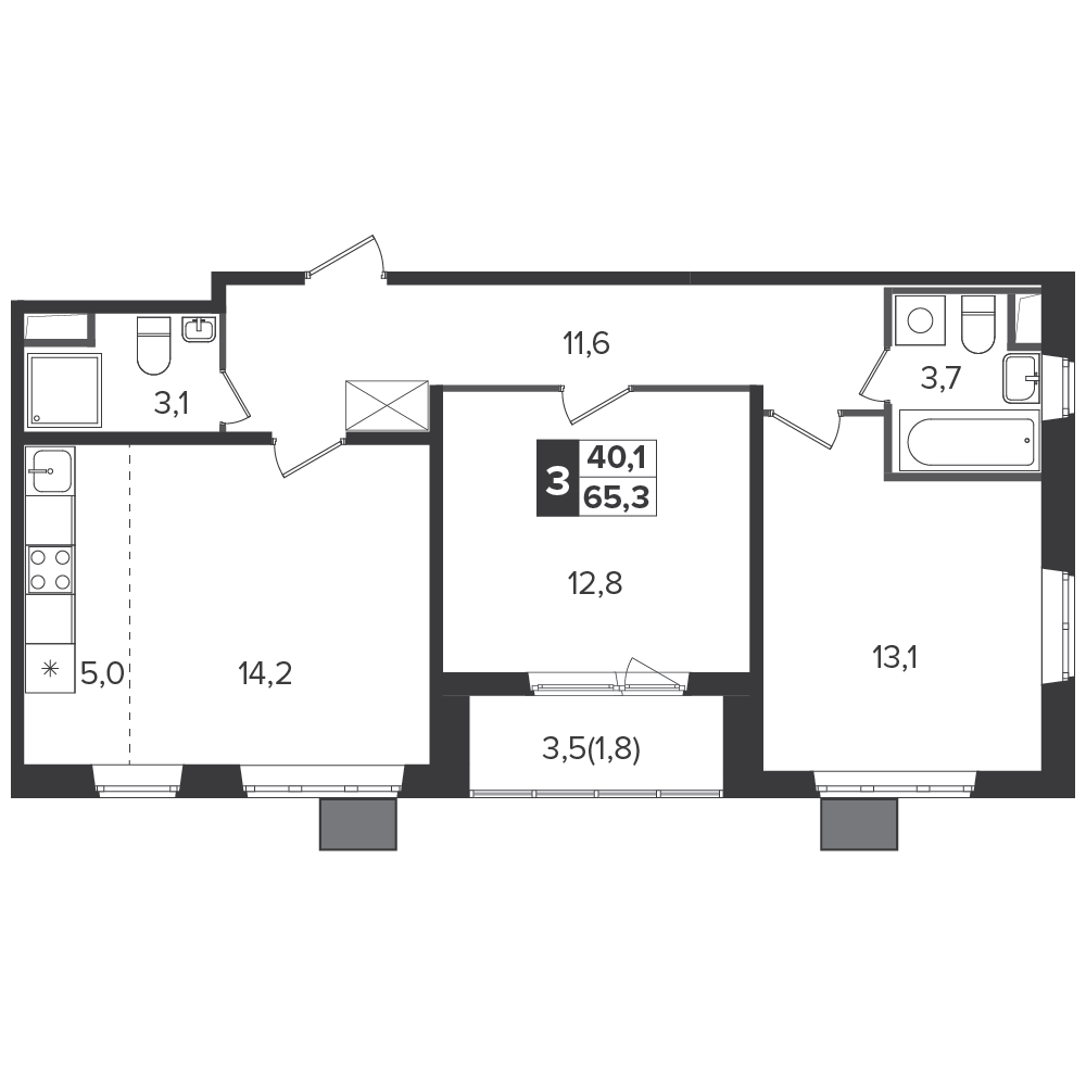 3-комнатная квартира, 65.3м² за 9,1 млн руб.