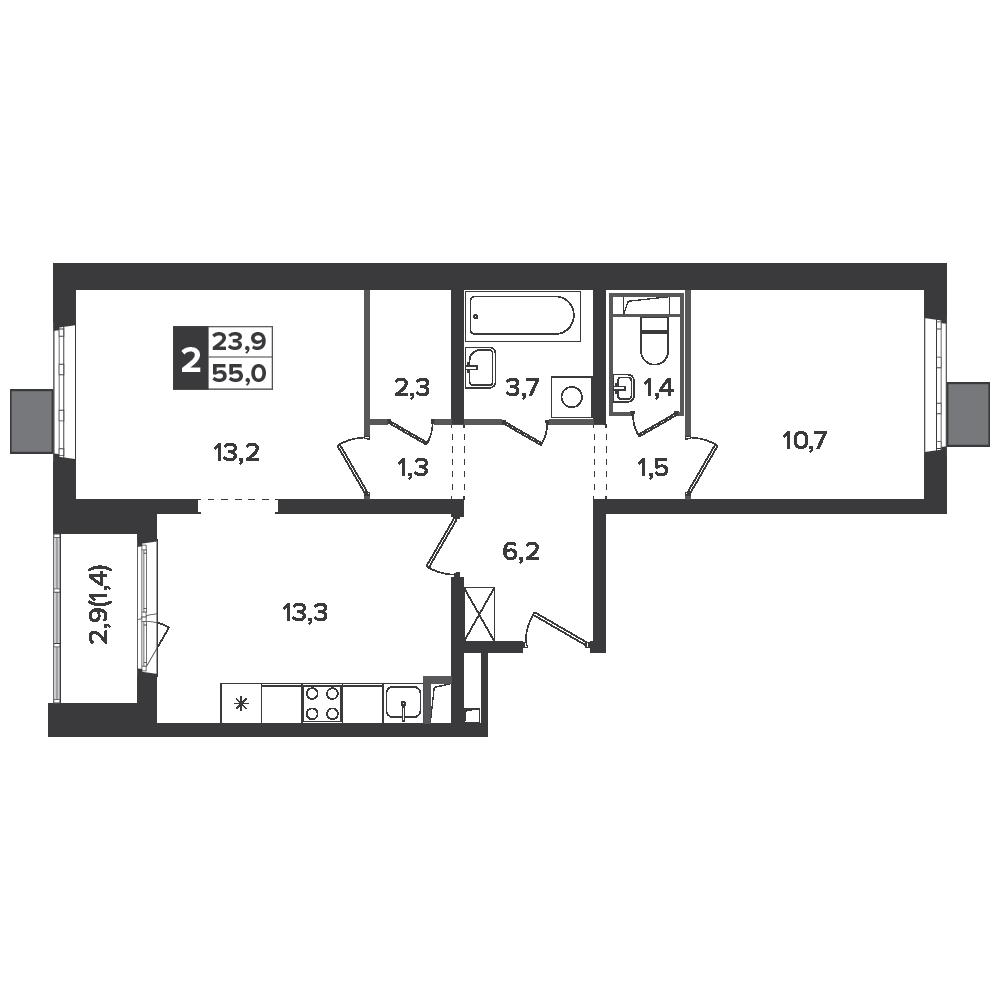 2-комнатная квартира, 55м² за 9,6 млн руб.