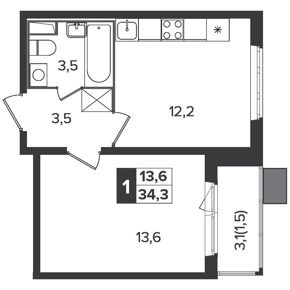 1-комнатная квартира, 34.3м² за 5,2 млн руб.