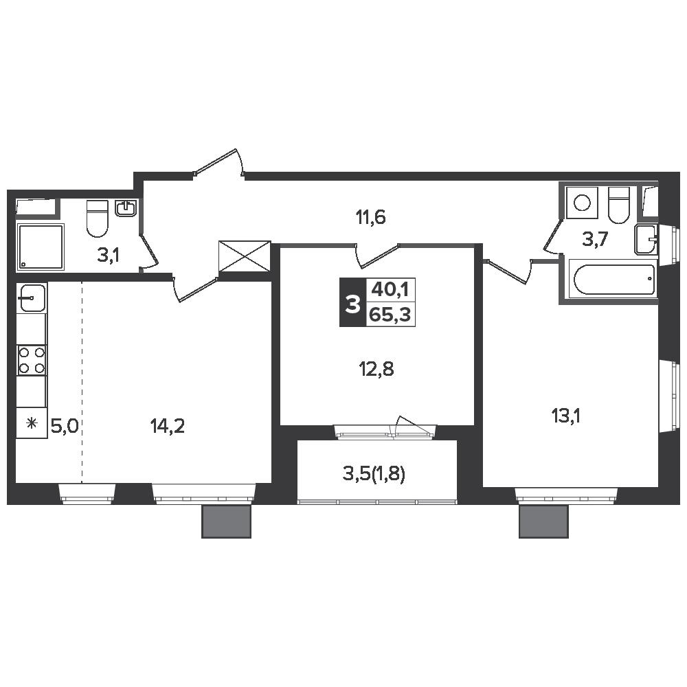 3-комнатная квартира, 65.3м² за 10,6 млн руб.