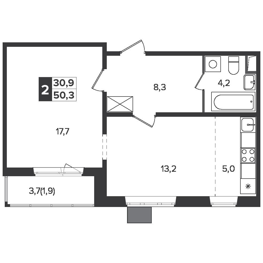 2-комнатная квартира, 50.3м² за 7,6 млн руб.