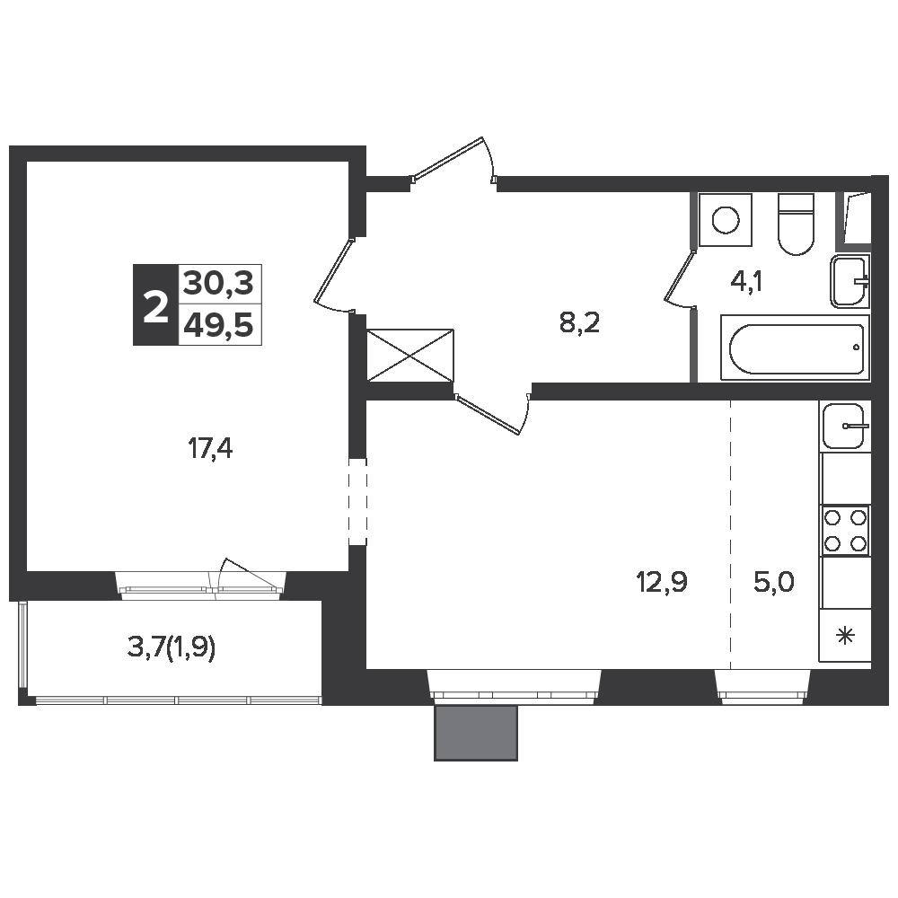 2-комнатная квартира, 49.5м² за 7,7 млн руб.