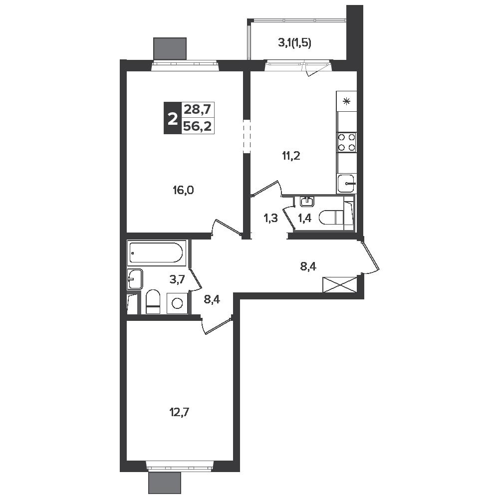2-комнатная квартира, 56.2м² за 8,2 млн руб.