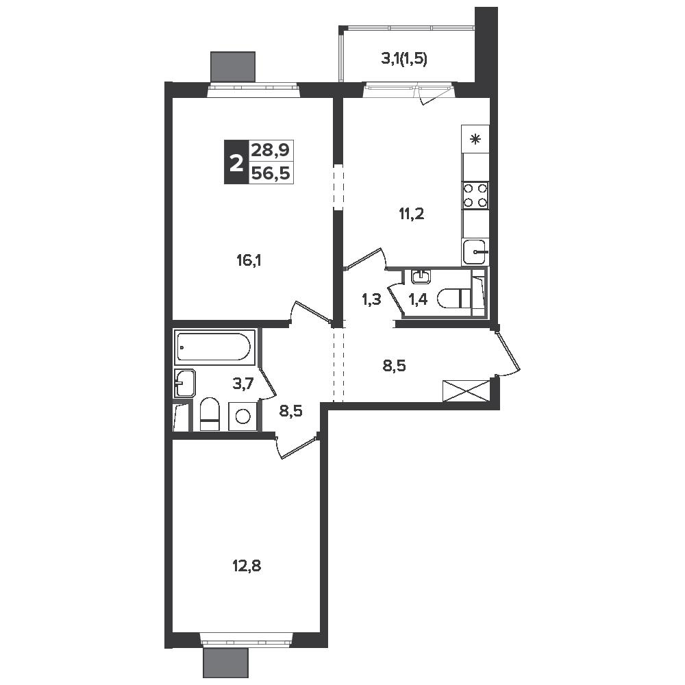 2-комнатная квартира, 56.5м² за 9,7 млн руб.