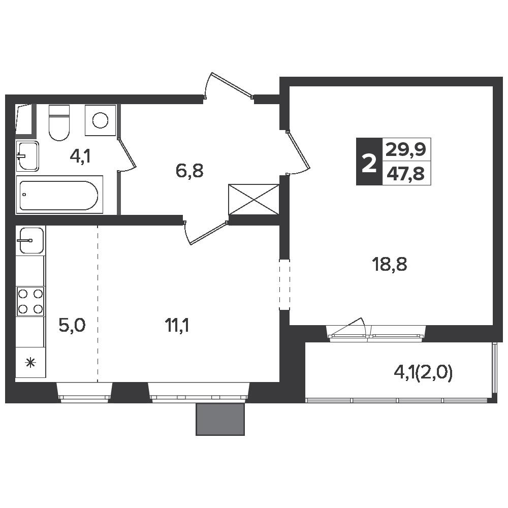 2-комнатная квартира, 47.8м² за 7,5 млн руб.