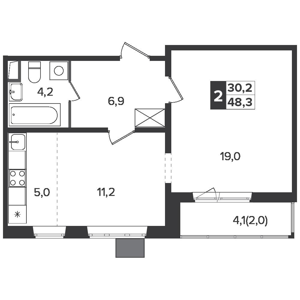 2-комнатная квартира, 48.3м² за 7,7 млн руб.