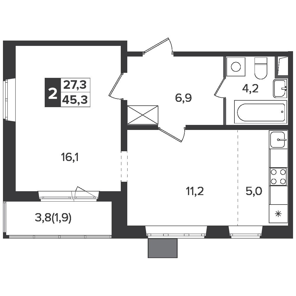 2-комнатная квартира, 45.3м² за 7,2 млн руб.