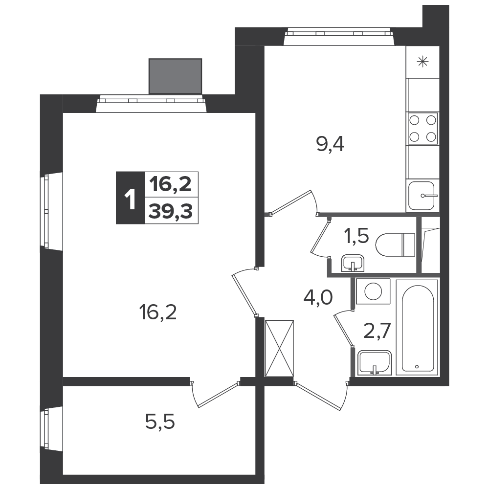 1-комнатная квартира, 39.3м² за 5,8 млн руб.