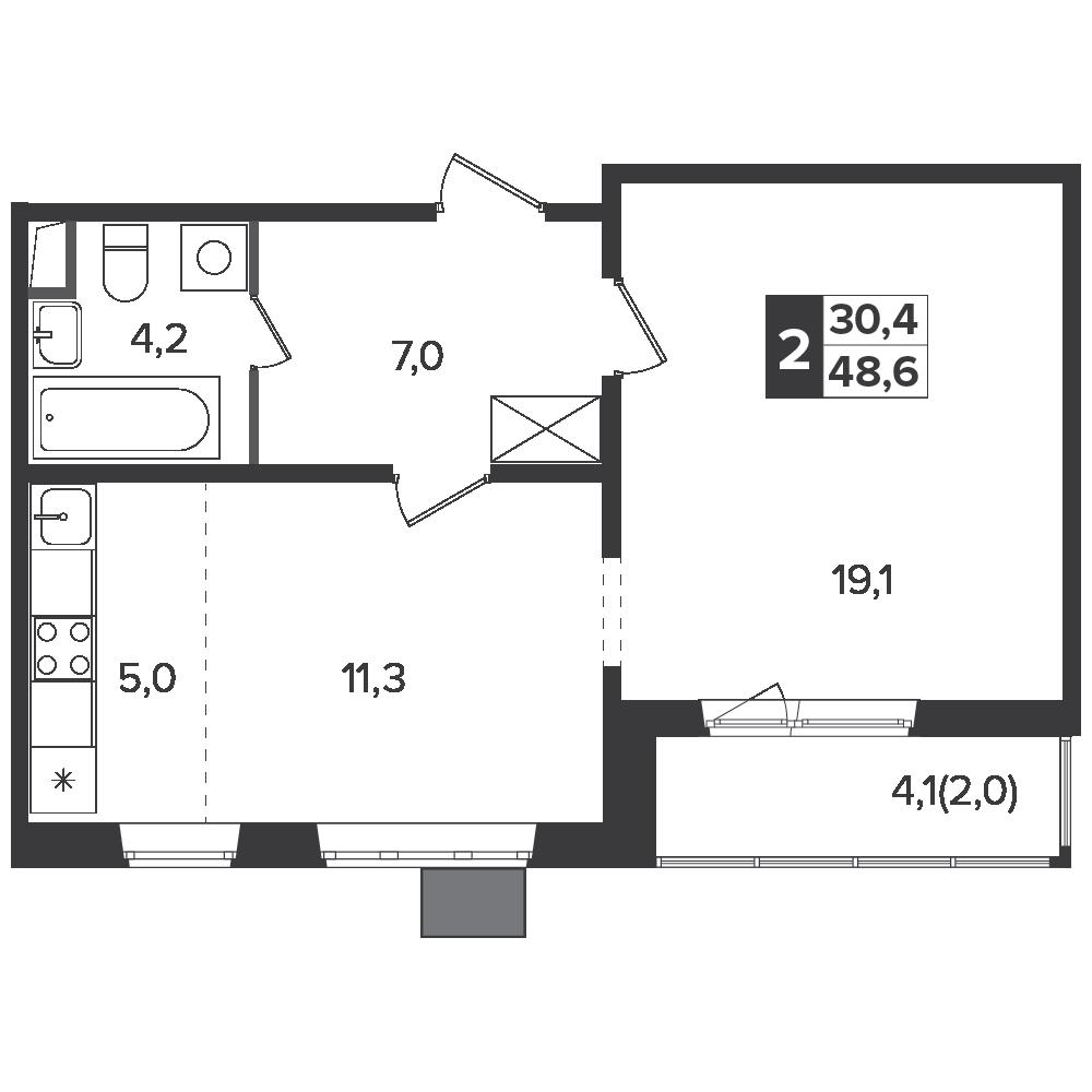2-комнатная квартира, 48.6м² за 7,7 млн руб.