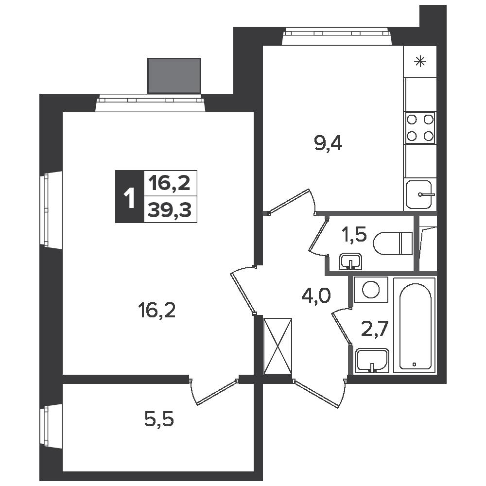 1-комнатная квартира, 39.3м² за 6 млн руб.
