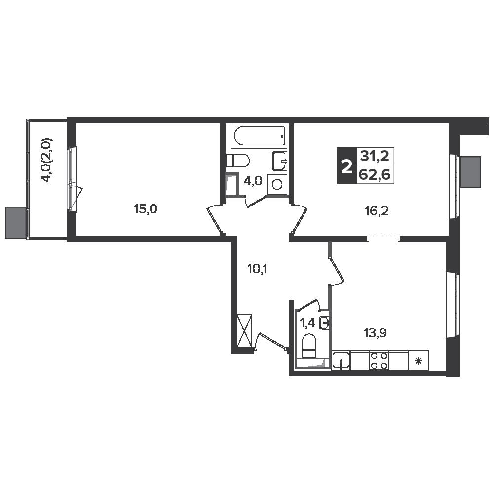 2-комнатная квартира, 62.6м² за 8,5 млн руб.