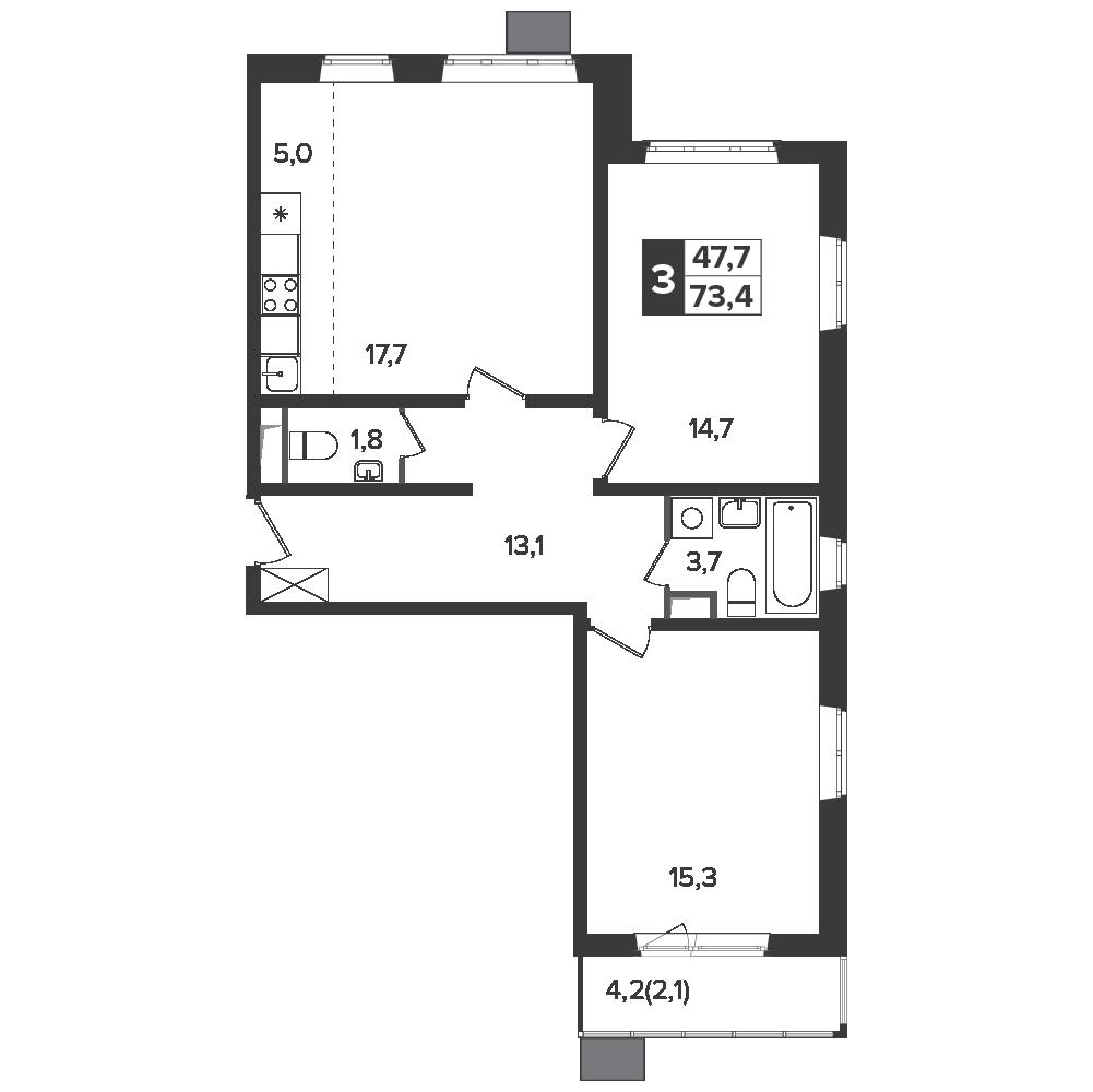3-комнатная квартира, 73.4м² за 11,4 млн руб.