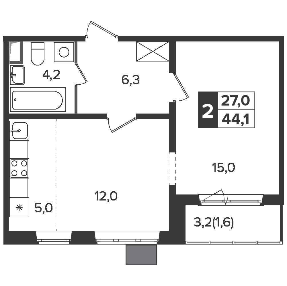 2-комнатная квартира, 44.1м² за 7 млн руб.