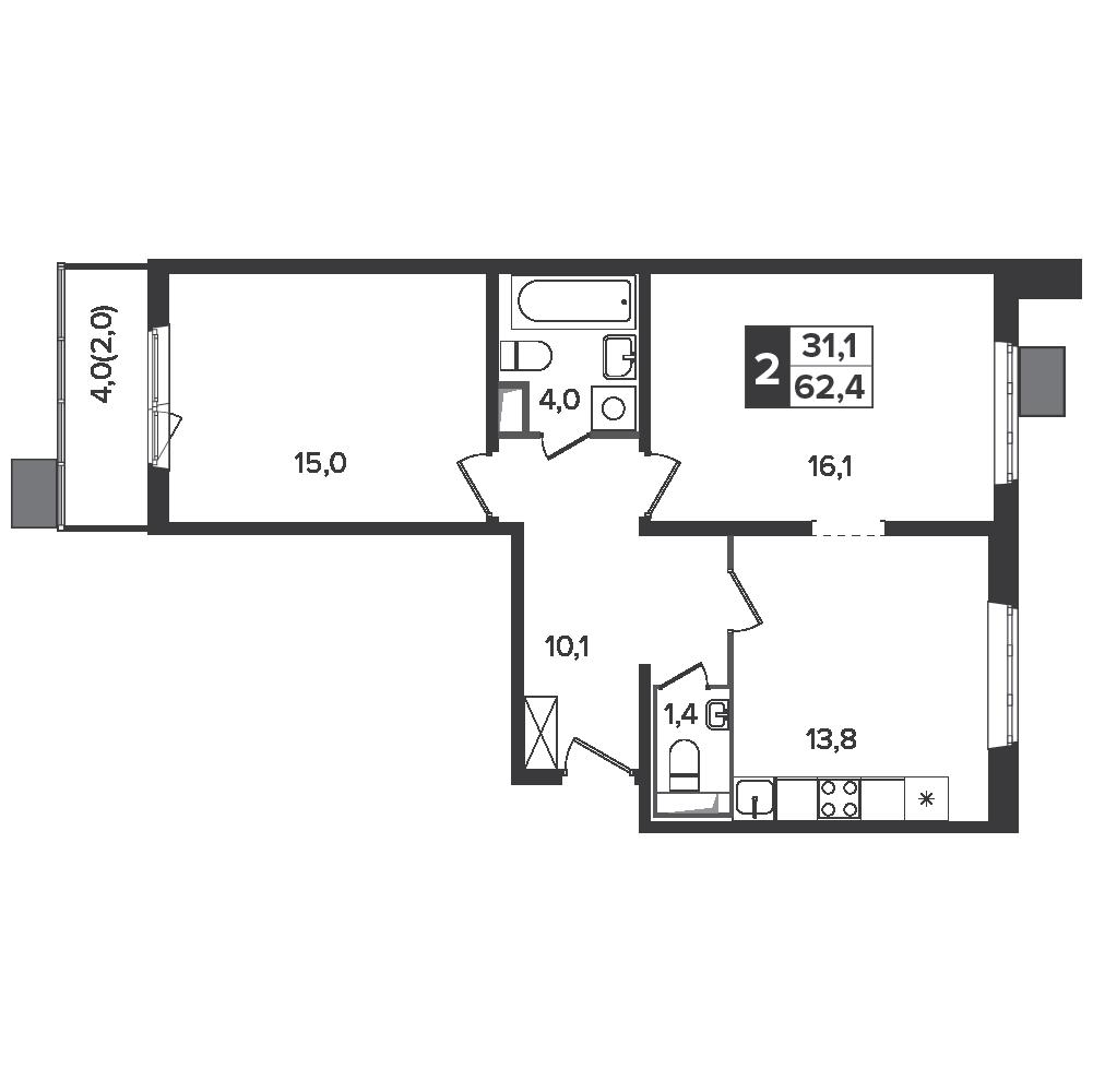 2-комнатная квартира, 62.4м² за 10,1 млн руб.