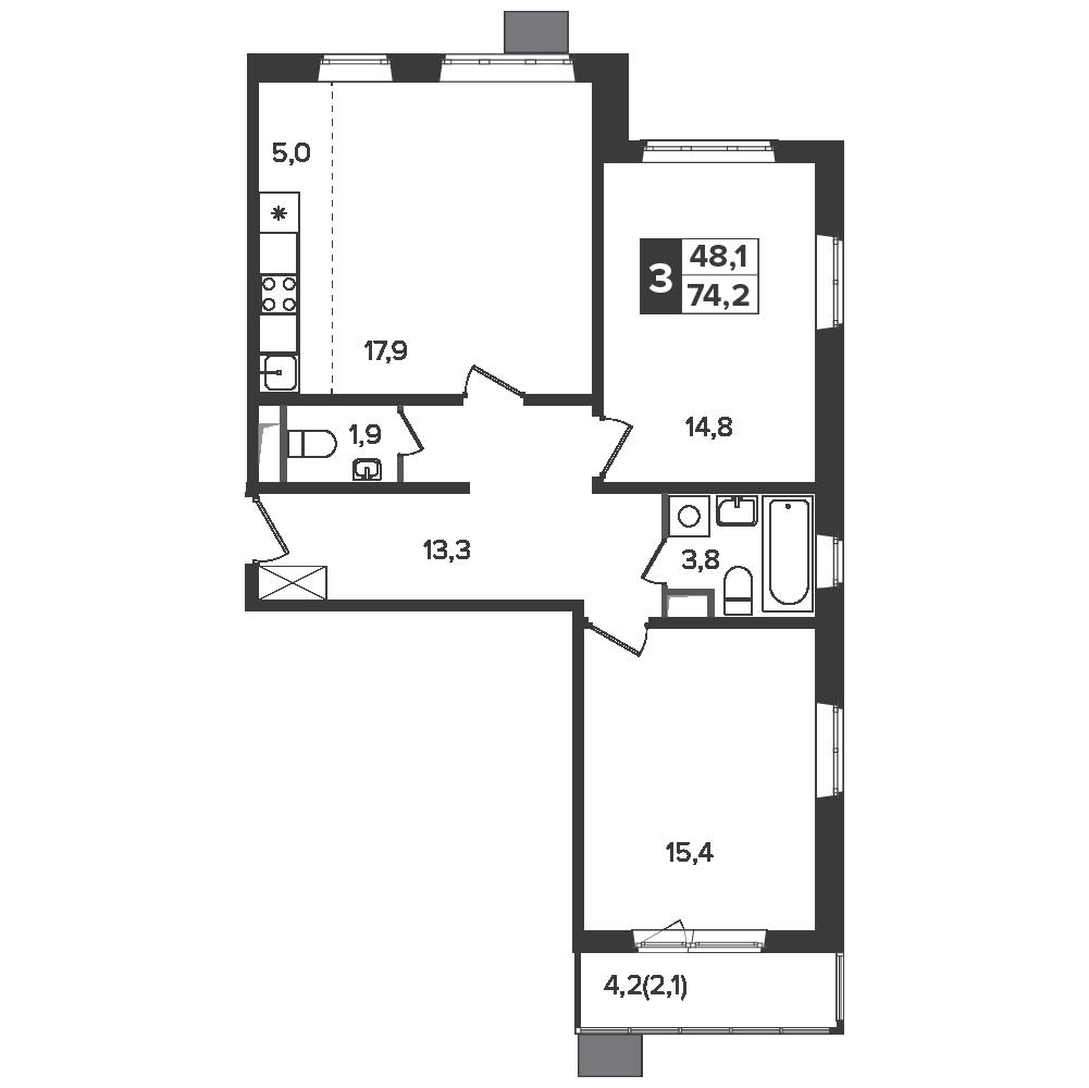 3-комнатная квартира, 74.2м² за 10 млн руб.